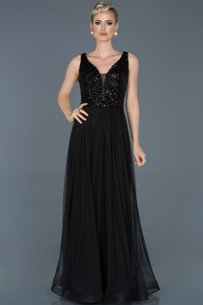 Long Black Engagement Dress ABU934
