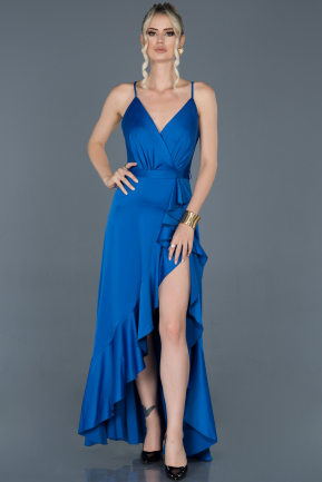 Front Short Back Long Sax Blue Satin Prom Gown ABO061