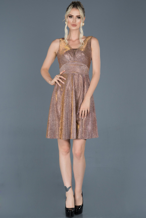 Short Rose Colored Prom Gown ABK623