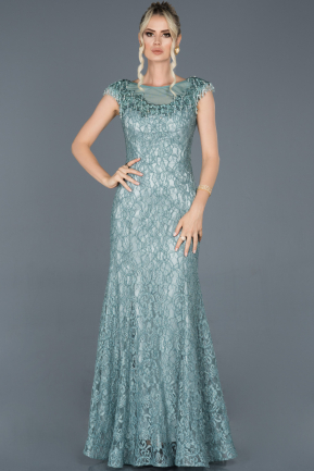 Long Turquoise Laced Engagement Dress ABU940