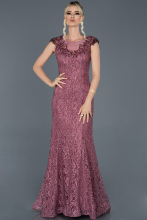 Rose Colored Long Laced Engagement Dress ABU940