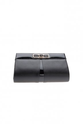 Black Leather Evening Bag V416