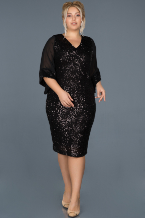 Short Black Plus Size Evening Dress ABK628