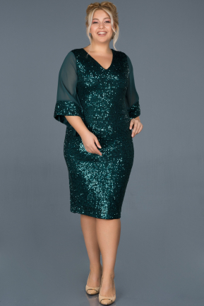 Short Green Plus Size Evening Dress ABK628
