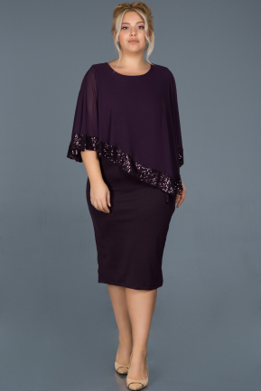 Short Dark Purple Plus Size Evening Dress ABK629