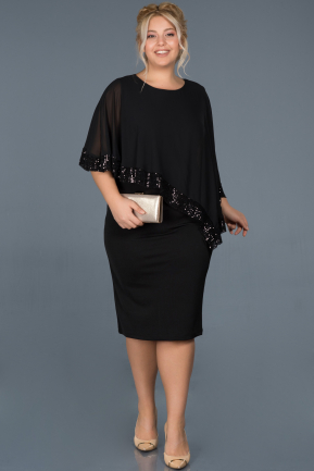 Short Black Plus Size Evening Dress ABK629