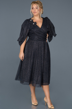 Short Navy Blue Oversized Evening Dress ABK630