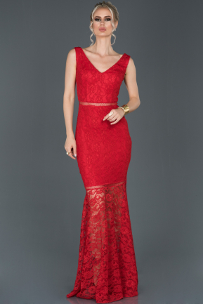 Red Long Laced Evening Dress ABU855