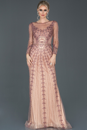 Long Rose Colored Haute Couture ABU976