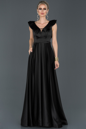 Long Black Satin Engagement Dress ABU956
