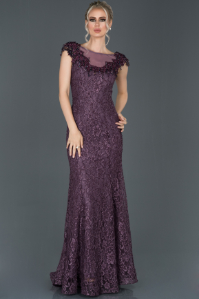 Long Lavender Laced Evening Dress ABU1062