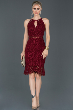 Short Burgundy Velvet Invitation Dress ABK634