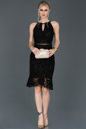 Short Black Velvet Invitation Dress ABK634