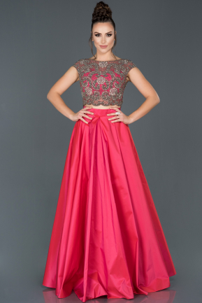 Long Fuchsia Satin Evening Dress ABU1061