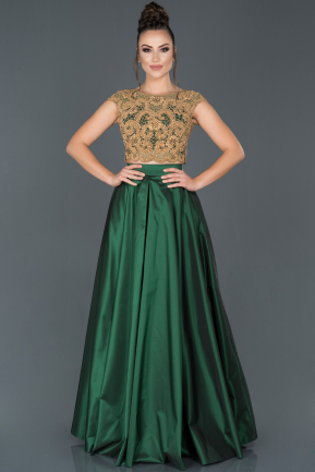 Long Emerald Green Satin Evening Dress ABU1424
