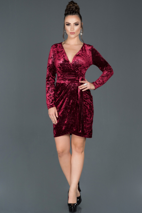 Short Burgundy Velvet Invitation Dress ABK648