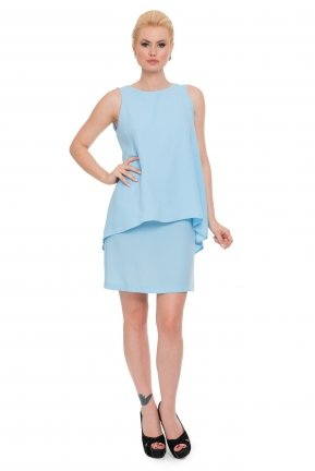 Short Ice Blue Coctail Dress ABK016
