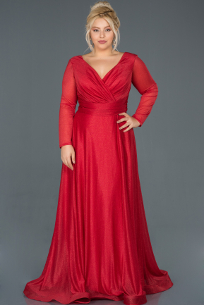 Long Red Oversized Evening Dress ABU991