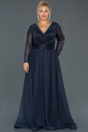 Long Navy Blue Oversized Evening Dress ABU991
