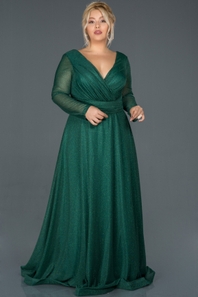 Long Emerald Green Oversized Evening Dress ABU991