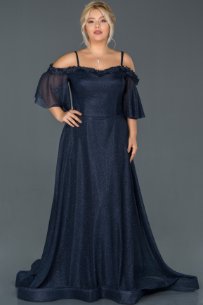 Long Navy Blue Oversized Evening Dress ABU993