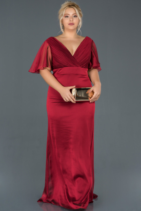 Long Burgundy Plus Size Evening Dress ABU994
