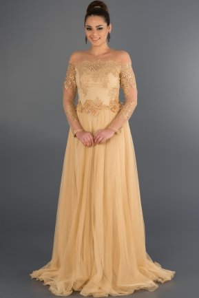 Long Gold Princess Evening Dress ABU019