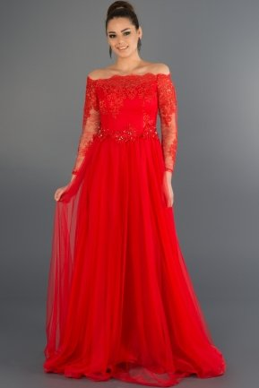 Long Red Princess Evening Dress ABU019