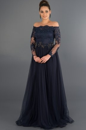 Long Navy Blue Princess Evening Dress ABU019