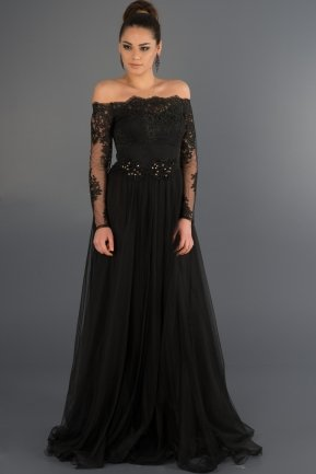 Long Black Princess Evening Dress ABU019