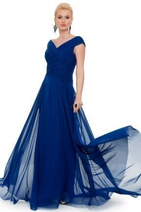 Long Sax Blue Evening Dress ABU048