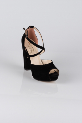 Black Suede Evening Shoes AB1024