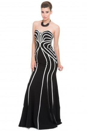 Long Black-White Prom Dress O4314