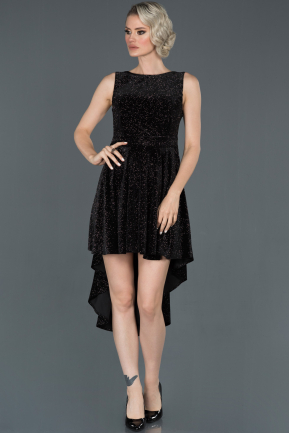 Front Short Back Long Black Velvet Invitation Dress ABO043