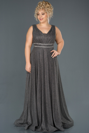 Anthracite Long Plus Size Evening Dress ABU963
