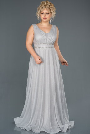 Silver Long Plus Size Evening Dress ABU963