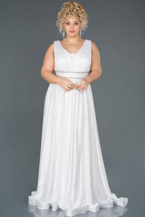 White Long Plus Size Evening Dress ABU963