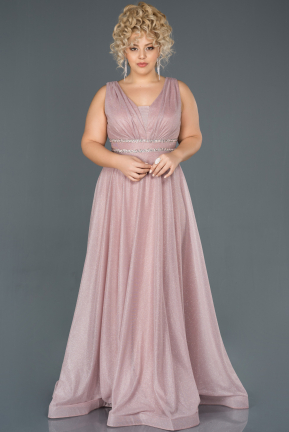 Powder Color Long Plus Size Evening Dress ABU963