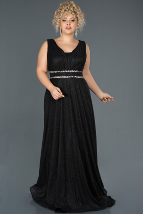 Black Long Plus Size Evening Dress ABU963