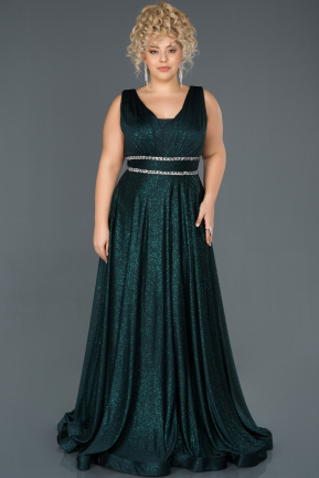 Emerald Green Long Plus Size Evening Dress ABU963