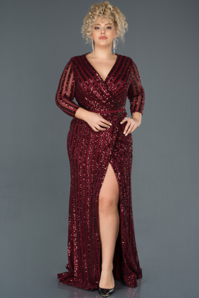 Burgundy Long Oversized Mermaid Evening Dress ABU1043