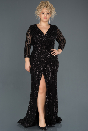 Black Long Oversized Mermaid Evening Dress ABU1043