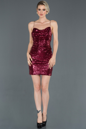 Short Burgundy Invitation Dress ABK728