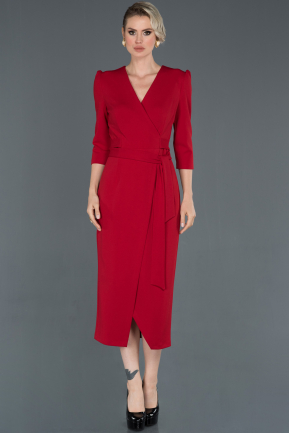 Front Short Back Long Red Evening Dress ABO047