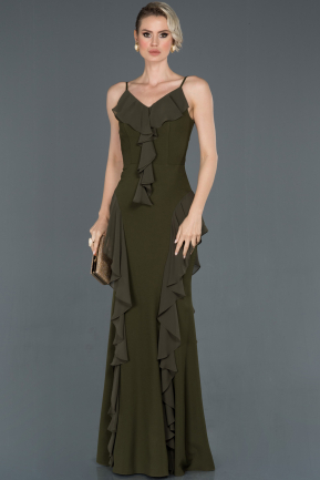 Olive Drab Long Prom Gown ABU624