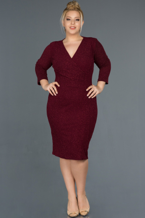 Short Burgundy Oversized Evening Dress ABK744