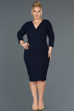 Short Navy Blue Oversized Evening Dress ABK744