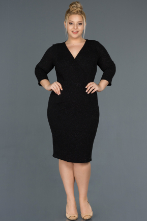 Short Black Oversized Evening Dress ABK744