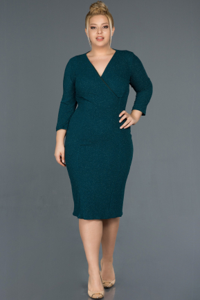 Short Emerald Green Oversized Evening Dress ABK744