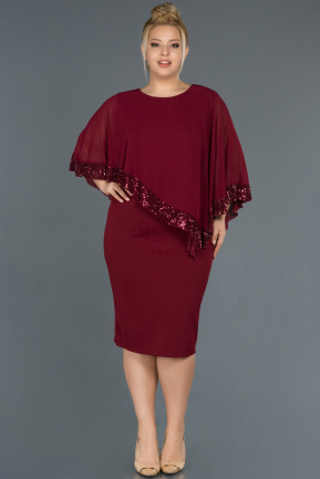 Burgundy Short Plus Size Evening Dress ABK629